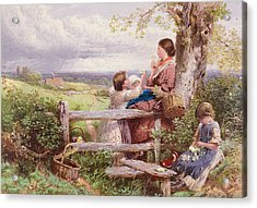 The Rustic Stile Acrylic Print by Myles Birket Foster