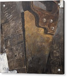 The Rusty Saw And The Buildingplans Acrylic Print by Anke Classen