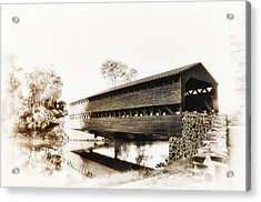 The Sachs Covered Bridge Near Gettysburg In Sepia Acrylic Print by Bill Cannon