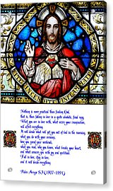The Sacred Heart And The Arrupe Prayer Acrylic Print by Philip Ralley