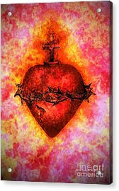 The Sacred Heart Of Jesus Christ Acrylic Print by Annie Zeno