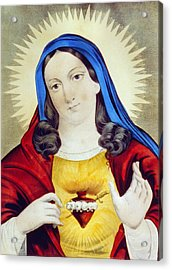 The Sacred Heart Of Mary Acrylic Print by Bill Cannon
