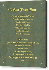 The Saint Francis Prayer In Gold Lettering On Green Leather. Acrylic Print by Philip Ralley