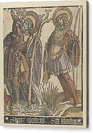 The Saints Christopher And Sebastian Acrylic Print by Jacob Cornelisz Van Oostsanen
