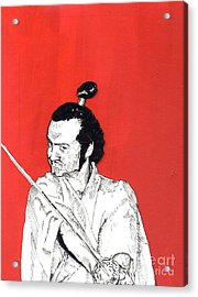 The Samurai On Red Acrylic Print by Jason Tricktop Matthews