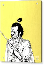 The Samurai On Yellow Acrylic Print by Jason Tricktop Matthews