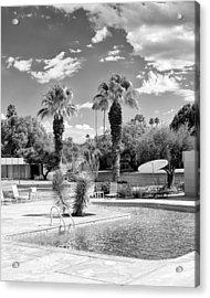 The Sandpiper Pool Bw Palm Desert Acrylic Print by William Dey