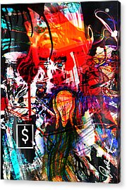 The Scream Flat Broke 2012 - Huge Signed Art Abstract Paintings Modern Www.splashyartist.com Acrylic Print