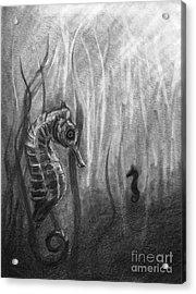 Acrylic Print featuring the drawing The Sea Spell by J Ferwerda