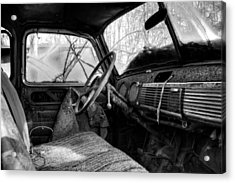 The Seat Of An Old Truck In Black And White Acrylic Print