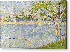 The Seine Seen From La Grande Jatte Acrylic Print by Georges Seurat