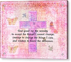 The Serenity Prayer With Butterflies And Cross Acrylic Print