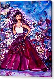 Acrylic Print featuring the painting The Shadow Of Her Smile by Helena Bebirian