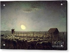 The Sheepfold   Moonlight Acrylic Print by Jean Francois Millet