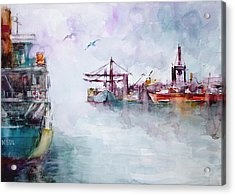 Acrylic Print featuring the painting The Ship At Harbor Entrance by Faruk Koksal