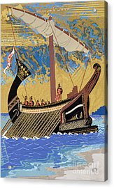 The Ship Of Odysseus Acrylic Print by Francois-Louis Schmied