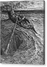 The Ship Sinks But The Mariner Is Rescued By The Pilot And Hermit Acrylic Print by Gustave Dore