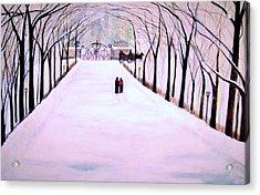 The Silent Snowfall Walk  Acrylic Print by Rick Todaro