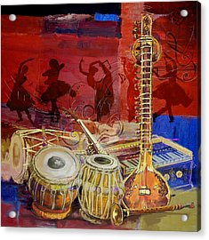 The Sitar Dhol Tabla And Harmonium Acrylic Print by Corporate Art Task Force