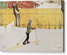 The Skier Acrylic Print by Carl Larsson