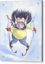 The Skier Acrylic Print by Leonard Filgate