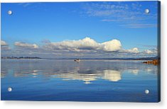 The Sky The Lake And The Boat Acrylic Print by Rima Biswas