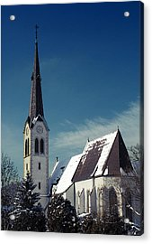 The Snow And The Church Acrylic Print by Antonio Castillo