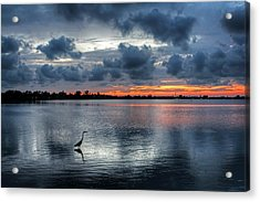 Acrylic Print featuring the photograph The Solitary Fisherman - Florida Sunset by HH Photography of Florida