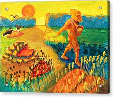 The Sower Painting By Bertram Poole Acrylic Print by Thomas Bertram POOLE