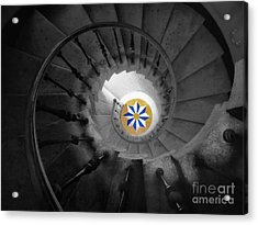 The Spiral Staircase Of Villa Vizcaya Bwcolor Acrylic Print by Mike Nellums