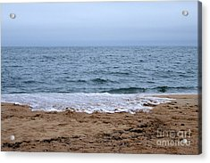 The Splash Over On A Sandy Beach Acrylic Print by Eunice Miller