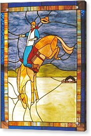 The Stained Glass Cowboy Riding Out The Bucks Acrylic Print by Patricia Keller