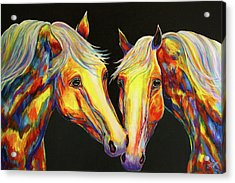 The Stallion Kiss Paint Horses Acrylic Print by Jennifer Godshalk