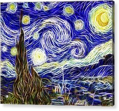 The Starry Night Reimagined Acrylic Print by Adam Romanowicz