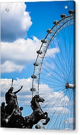 The Statue Of Boadicea Standing In Front Of The London Eye In England Acrylic Print by Nila Newsom