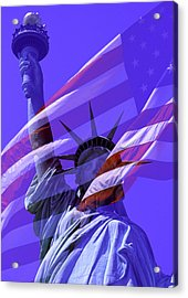 The Statue Of Liberty Draped With The Flag Of The United States Acrylic Print
