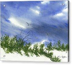 The Still Of Shore Acrylic Print by Karen  Condron