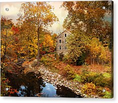 The Stone Mill In Autumn Acrylic Print by Jessica Jenney