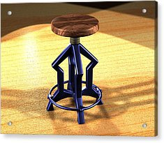 Acrylic Print featuring the digital art The Stool Twin by Giuseppe Epifani