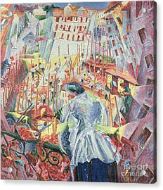 The Street Enters The House Acrylic Print by Umberto Boccioni