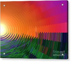 Acrylic Print featuring the painting The Sun Drops Into The Horizon by Pet Serrano