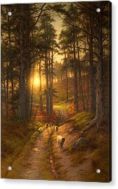 The Sun Fast Sinks In The West Acrylic Print by Joseph Farquharson