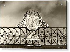 The Sun Orioles Clock - Sepia Acrylic Print by Brian Wallace