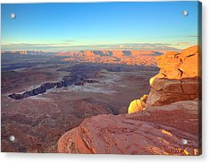 The Sun Sets On Canyonlands National Park In Utah Acrylic Print by Alan Vance Ley