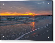 Acrylic Print featuring the photograph The Sunset Kissing The Waves by Jose Oquendo