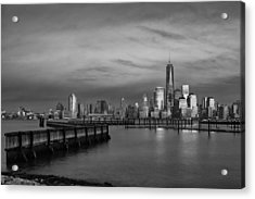 The Sunsets At One World Trade Center Bw Acrylic Print
