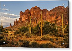 The Superstitions At Sunset  Acrylic Print by Saija  Lehtonen