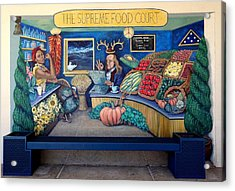 The Supreme Food Court Acrylic Print by Elizabeth Criss