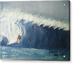 The Surfing Acrylic Print by Fladelita Messerli-