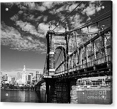 The Suspension Bridge Bw Acrylic Print